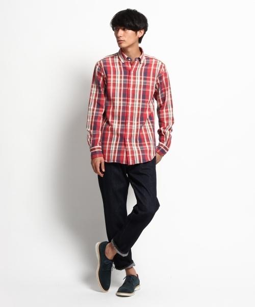 チェックシャツ×ジーンズ