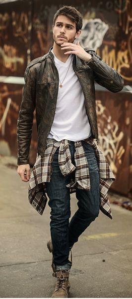 ライダース系革ジャン×チェックシャツ
