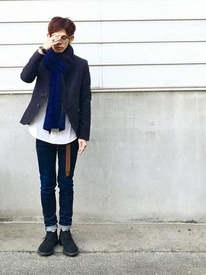 テーラードジャケット×シャツ×デニム