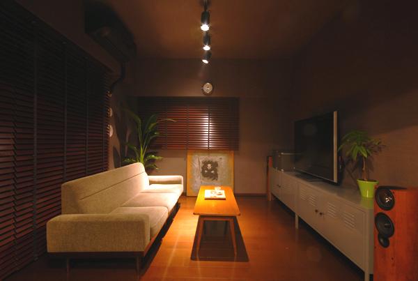 間接照明と植物