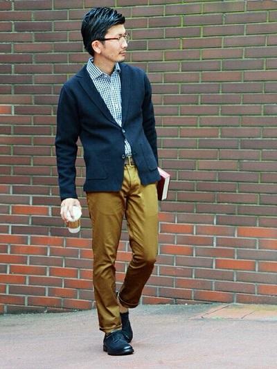 ジャケット×シャツ×ベージュチノパン