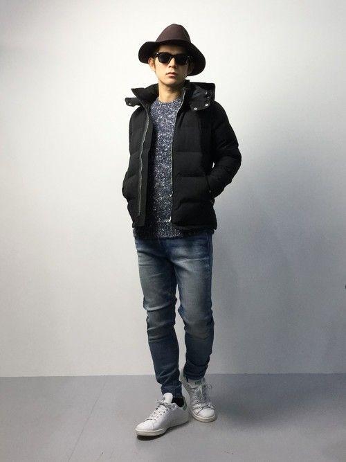 ブラック中綿ジャケット×デニムパンツ