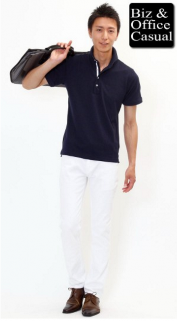 ネイビーポロシャツ×白パンツ