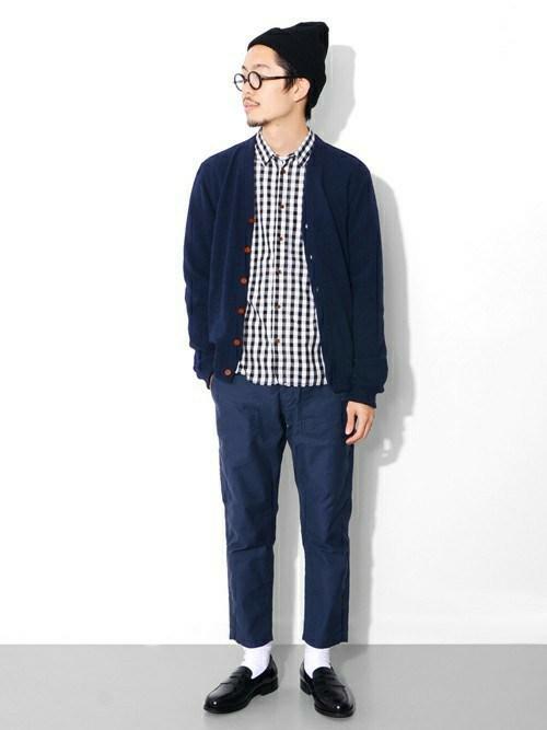 ギンガムチェックシャツ×ブルー・ネイビー