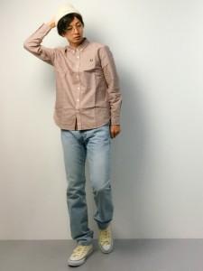 ギンガムチェックシャツ×レッド