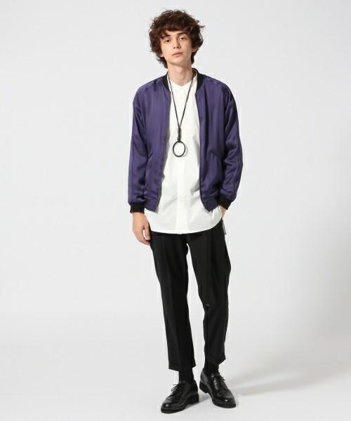 バンドカラーシャツ×MA1×スラックスパンツ