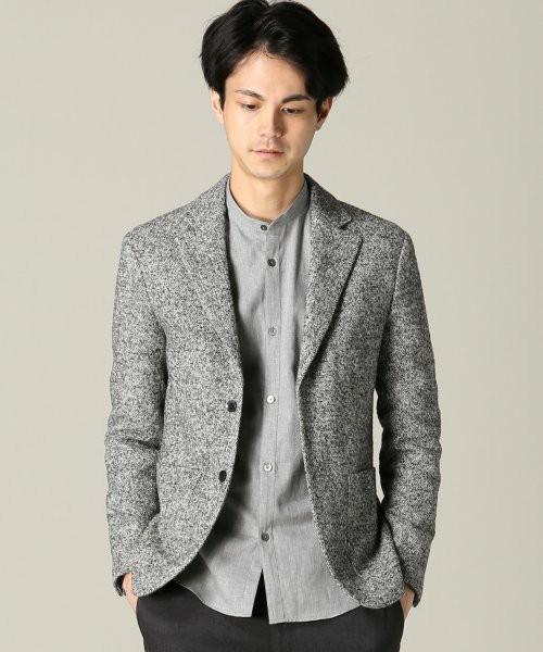 バンドカラーシャツ×テーラードジャケット