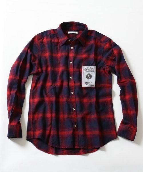 秋色チェックシャツ