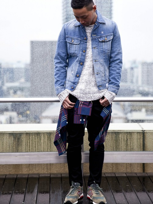 201610_Menz_a waistcloth_A plaid shirt_seasondressing well_coordination_023