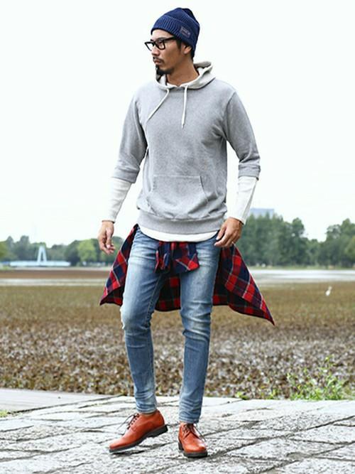 201610_Menz_a waistcloth_A plaid shirt_seasondressing well_coordination_011