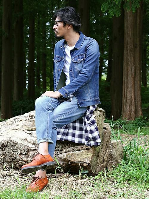 201610_Menz_a waistcloth_A plaid shirt_seasondressing well_coordination_003