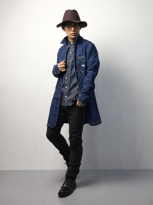 バンドカラーシャツ×デニムコート