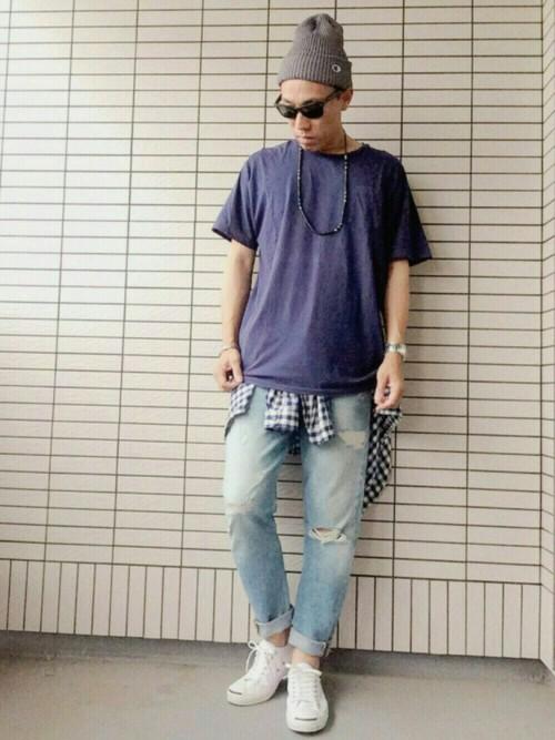 201610_Menz_a waistcloth_A plaid shirt_seasondressing well_coordination_019