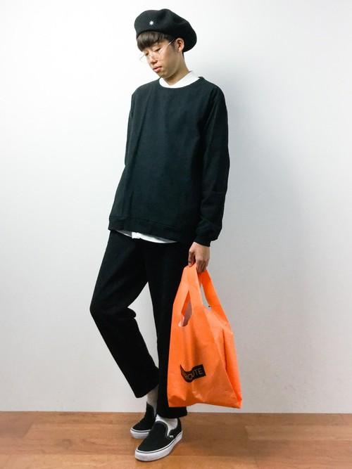 ラウンドセーター×バンドカラーシャツ