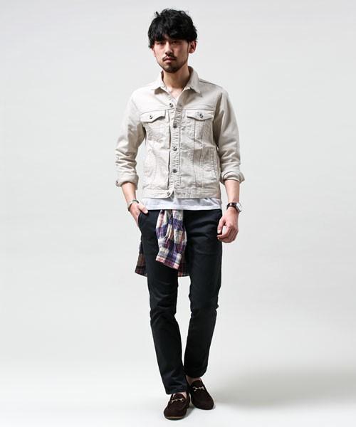 白デニム×デニム×チェックシャツ