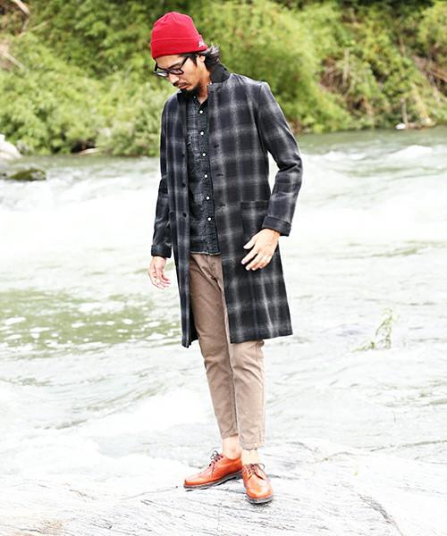 バンドカラーシャツ×チェックのコート