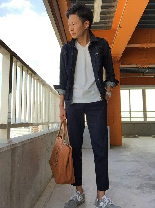デニムジャケット×白カットソー×9分丈パンツ