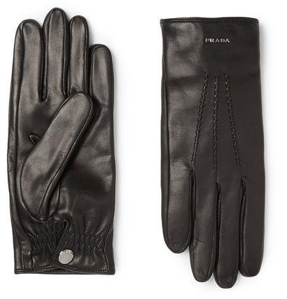 PRADA カシミア裏地のレザー手袋