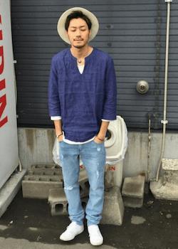 ブルースキッパーシャツ×デニム