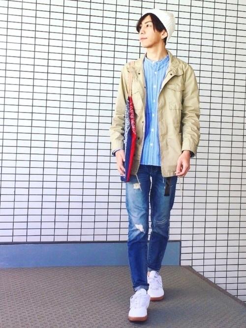 ジャケット×ストライプシャツ×デニム