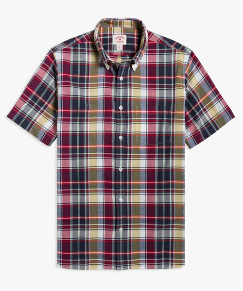 Red Fleeceコットンマドラスチェックショートスリーブカジュアルシャツ