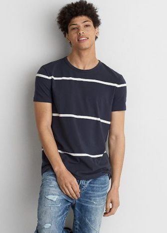 ワイドストライプ クルーネックTシャツ