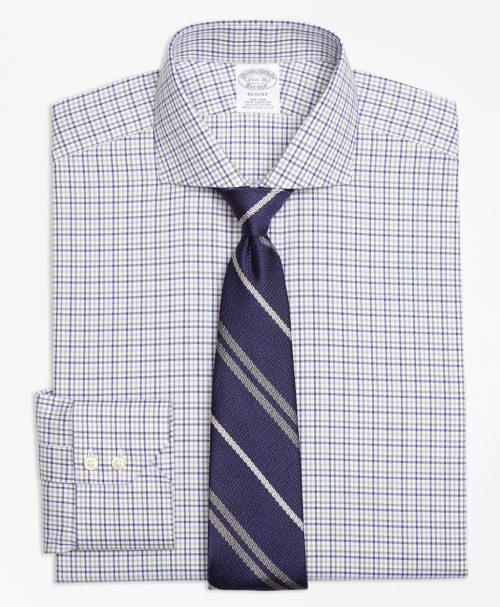 ラグジュアリーノンアイロン2トーンウィンドウペインドレスシャツ
