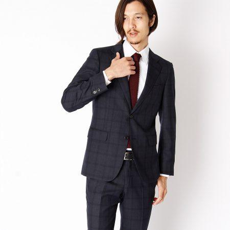 COMME CA ISM スーツ ブラックチェック