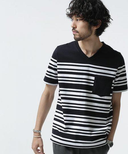 パネルボーダー Tシャツ nano・universe