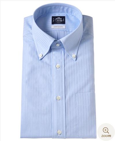 鎌倉シャツ ピンストライプ薄ブルーシャツ