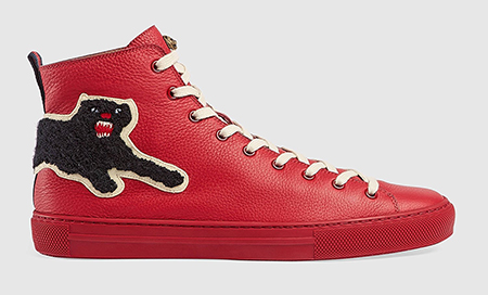 Leather high-top with panther