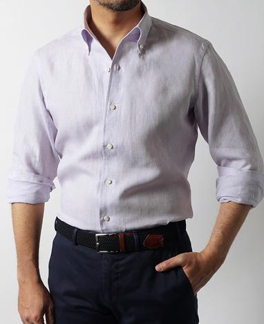 鎌倉シャツ パナマ織りロングスリーブシャツ