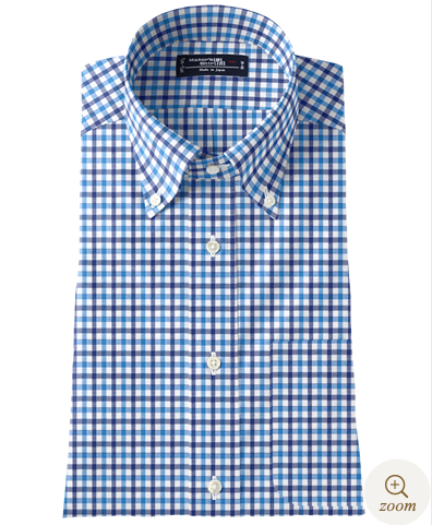 鎌倉シャツ 麻混ギンガムチェックシャツ