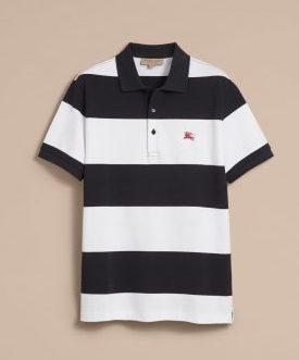 BURBERRY ストライプト コットンピケポロシャツ