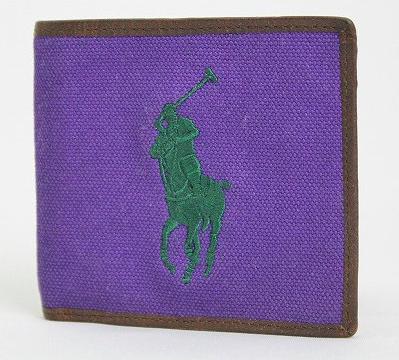 ロゴ刺繍入り二つ折り財布