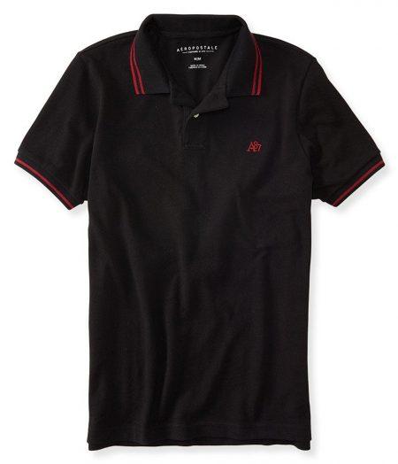 A87 Tipped Logo Piqué Polo Black