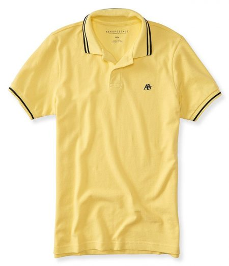 A87 Tipped Logo Piqué Polo Lemon Spritz