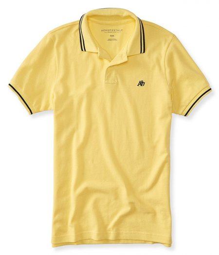 A87 Tipped Logo Piqué Polo Lemon Spritz