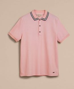 BURBERRY ストライプトカラー コットンピケポロシャツ
