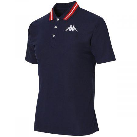 襟配色ライン半袖ポロシャツ