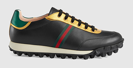 Leather Men sneaker with Web