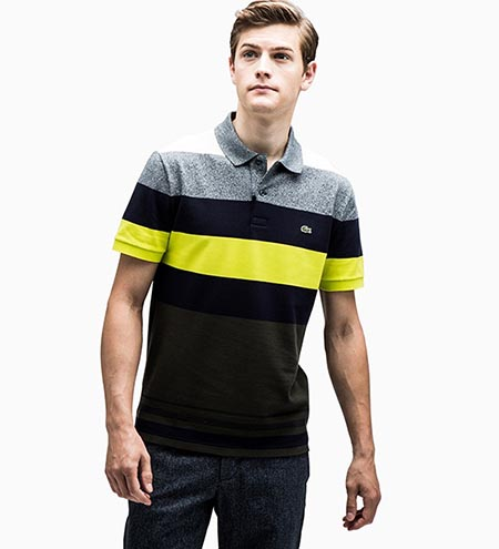 カラーブロックボーダーポロシャツ