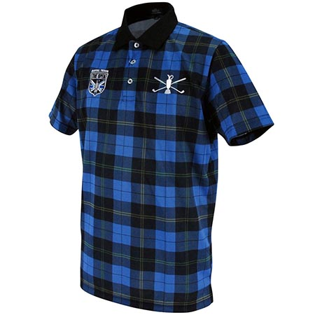 タータンチェックプリント半袖ポロシャツ