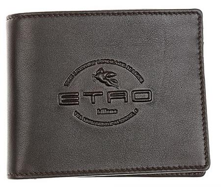 ブランドロゴ入りレザー二つ折り財布