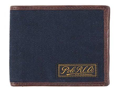 キャンバスレザー二つ折り財布
