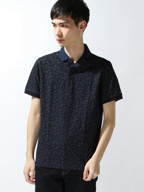 コットンインディゴスリムフィットポロシャツ
