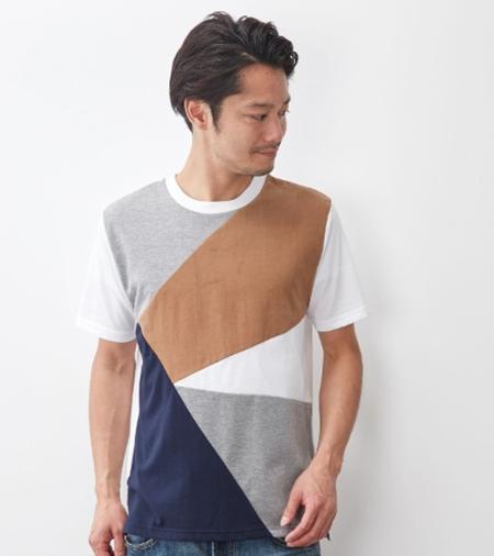 コーデュロイパッチワークTシャツ(ベージュ)