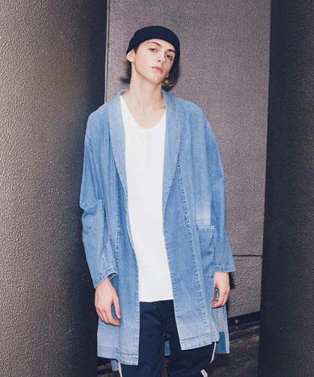 8oz DENIM SHAWL GOWN/ガウン