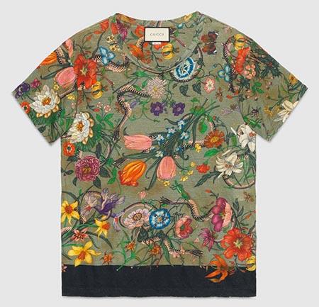 フローラスネークプリントTシャツ