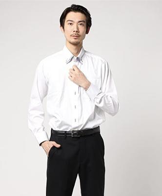 形態安定ハンドステッチ2枚衿ドゥエボタンダウンビジネスドレス長袖シャツ/TAKA-Q